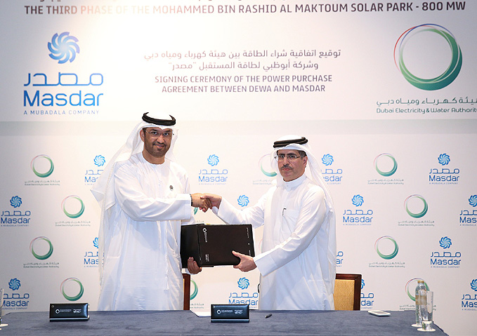 DEWA signs Power Purchase Agreement with Masdar for third phase of the Mohammed bin Rashid Al Maktoum Solar Park